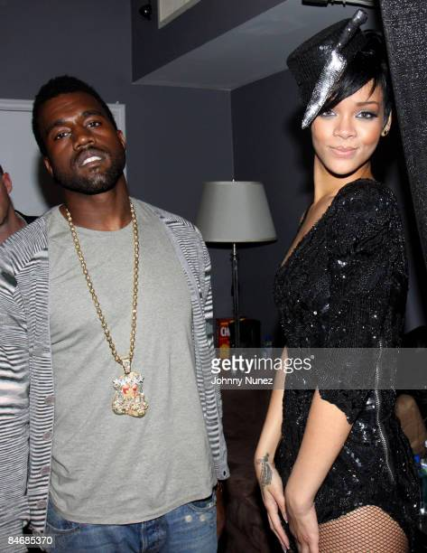 Kanye West and Rihanna attend Timbaland Grammy Party Presented by Verizon and Blackberry on February 6 2009 in Los Angeles California