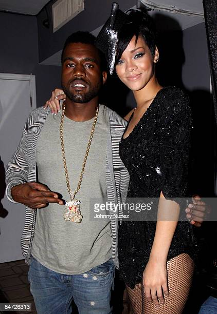 Kanye West and Rihanna attend Timbalands Grammy Party Presented by Verizon and Blackberry on February 6 2009 in Los Angeles California
