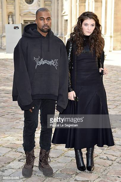 Kanye West and singer Lorde attend the Christian Dior show as part of the Paris Fashion Week Womenswear Fall/Winter 2015/2016 on March 6 2015 in...