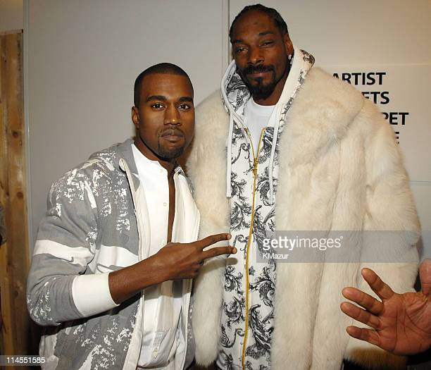 Kanye West and Snoop Dogg during 2006 MTV European Music Awards Backstage at Bella Centre in Copenhagen Denmark