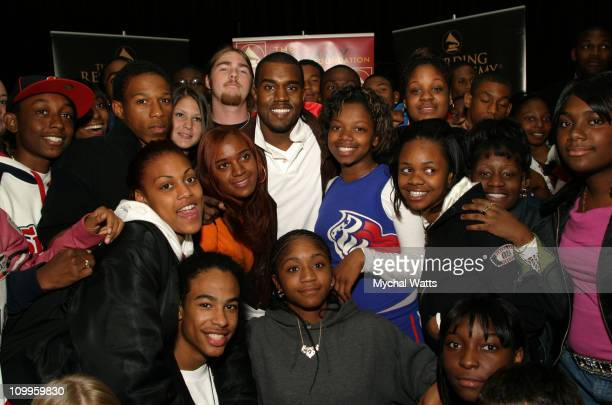 Kanye West and Students during NARAS and Gammy's in The Schools Present a Special Appearance by Kanye West at Amityville High School in New York City...