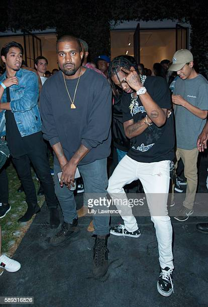 Kanye West and Travis Scott attend Travis Scott Music Video Premiere Party For 'Pick Up The Phone 90210' on August 12 2016 in Hollywood California