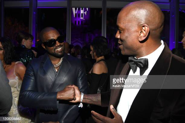 Kanye West and Tyrese Gibson attend the 2020 Vanity Fair Oscar Party hosted by Radhika Jones at Wallis Annenberg Center for the Performing Arts on...