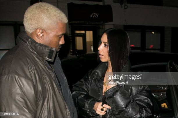 Kanye West and wife Kim Kardashian West are seen on February 14 2017 in New York City
