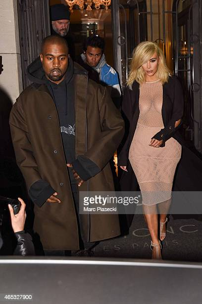 Kanye West and wife Kim Kardashian West are seen on March 5 2015 in Paris France