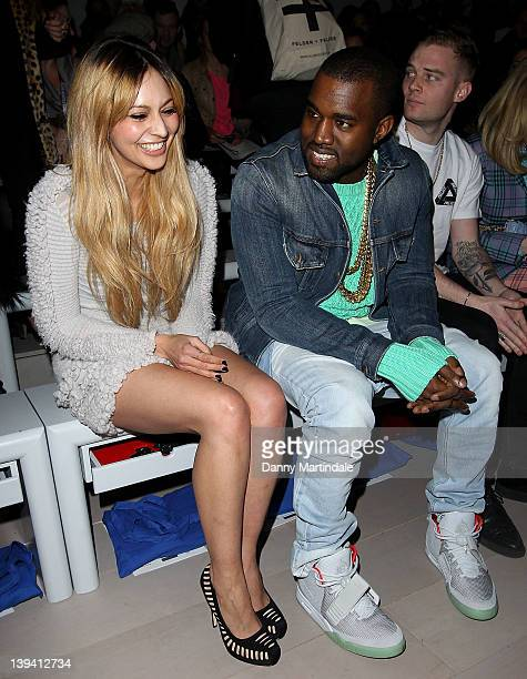 Kanye West and Zara Martin seen on the front row at the Mark Fast Autumn/Winter 2012 show at London Fashion Week at Somerset House on February 20...