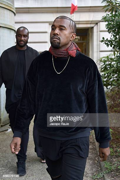 Kanye West arrives at Dries Van Noten Fashion Show during Paris Fashion Week Womenswear SS 2015 on September 24 2014 in Paris France