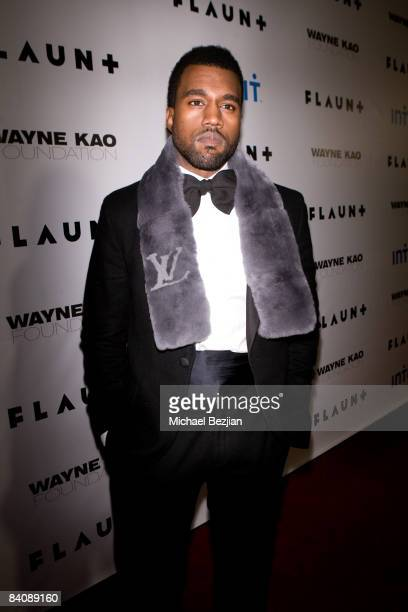 Kanye West arrives at Flaunt Magazine's 10th Anniversary Party and Annual Holiday Toy Drive at the Wayne Kao Mansion on December 18 2008 in Holmby...