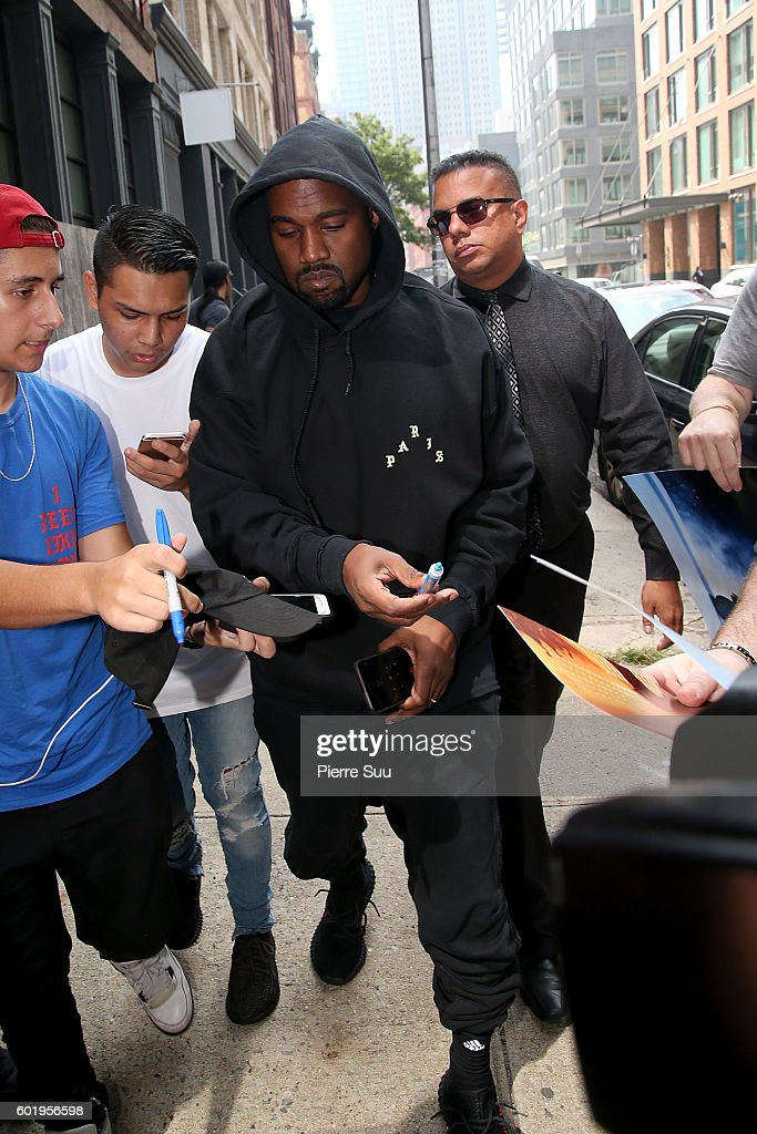 Kanye West Arrives at his apartment on September 10, 2016 in New York City.