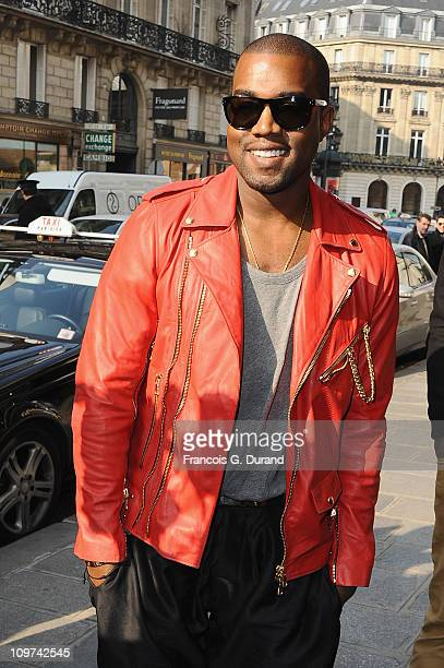 Kanye West arrives at the Balmain Ready to Wear Autumn/Winter 2011/2012 show during Paris Fashion Week at Le Grand Hotel on March 3 2011 in Paris...