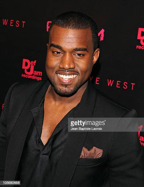 Kanye West arrives at the Los Angeles premiere of Runaway held at Harmony Gold Theatre on October 18 2010 in Los Angeles California