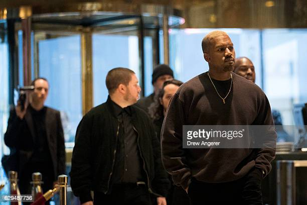 Kanye West arrives at Trump Tower December 13 2016 in New York City Presidentelect Donald Trump and his transition team are in the process of filling...