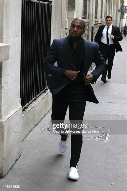 Kanye West arrives for the Azzedine Alaia Haute Couture Fall/Winter 2011/2012 show as part of Paris Fashion Week on July 7 2011 in Paris France