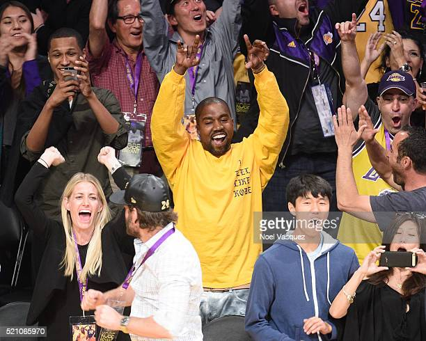 Kanye West attends a basketball game between the Utah Jazz and the Los Angeles Lakers at Staples Center on April 13 2016 in Los Angeles California