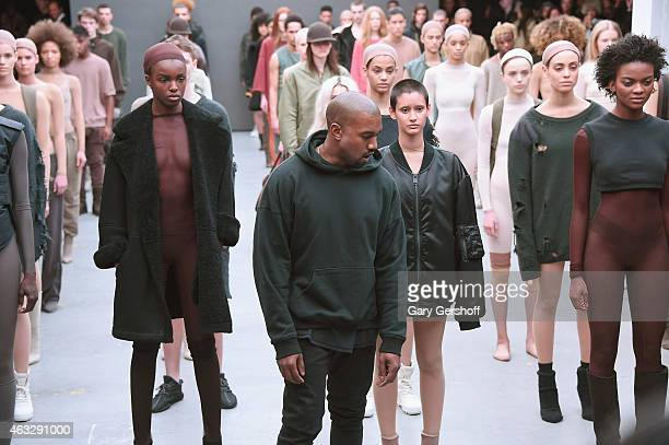 Kanye West attends the adidas show during MercedesBenz Fashion Week Fall 2015 at Skylight Clarkson SQ on February 12 2015 in New York City