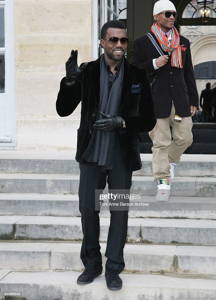 Kanye West attends the Christian Dior fashion show during Paris Fashion Week Haute Couture Spring/Summer 2009 at Musee Rodin on January 26, 2009 in Paris, France.