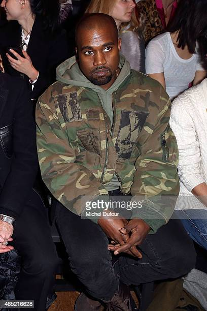 Kanye West attends the Dries Van Noten show as part of the Paris Fashion Week Womenswear Fall/Winter 2015/2016 on March 4 2015 in Paris France