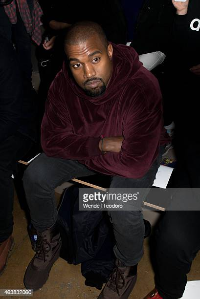 Kanye West attends the Jeremy Scott fashion show at Milk Studios during MADE Fashion Week Fall 2015 on February 18 2015 in New York City