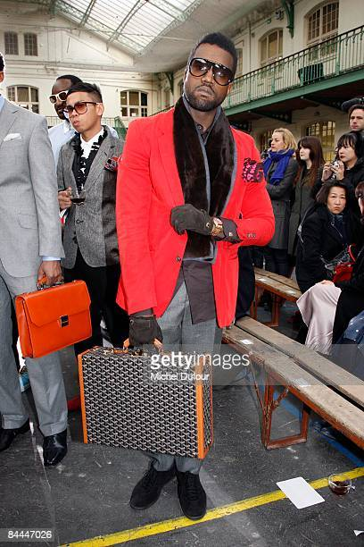 Kanye West attends the Lavin fashion show during Paris Fashion Week Menswear Autumn/Winter 2009 on January 25 2009 in Paris France