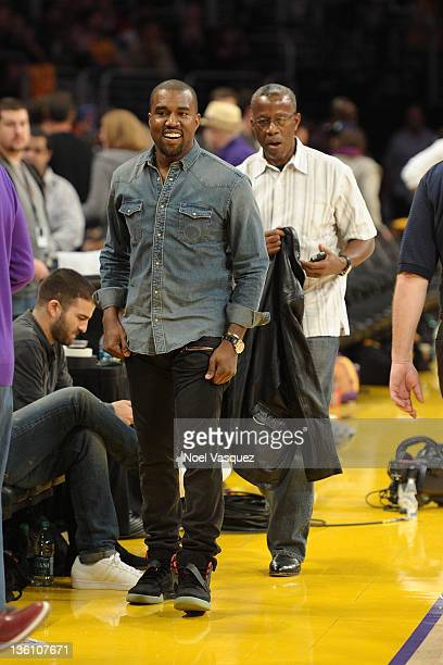 Kanye West attends the Los Angeles Lakers vs Chicago Bulls game on December 25 2011 in Los Angeles California
