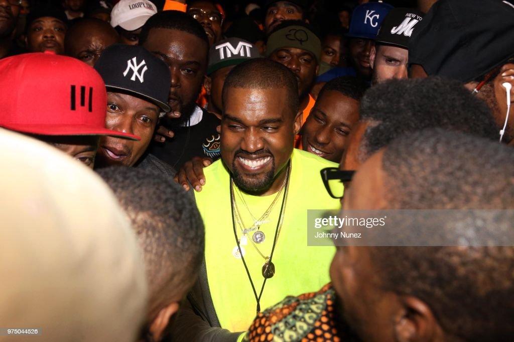Kanye West attends the Nas 'Nasir' Album Listening Session