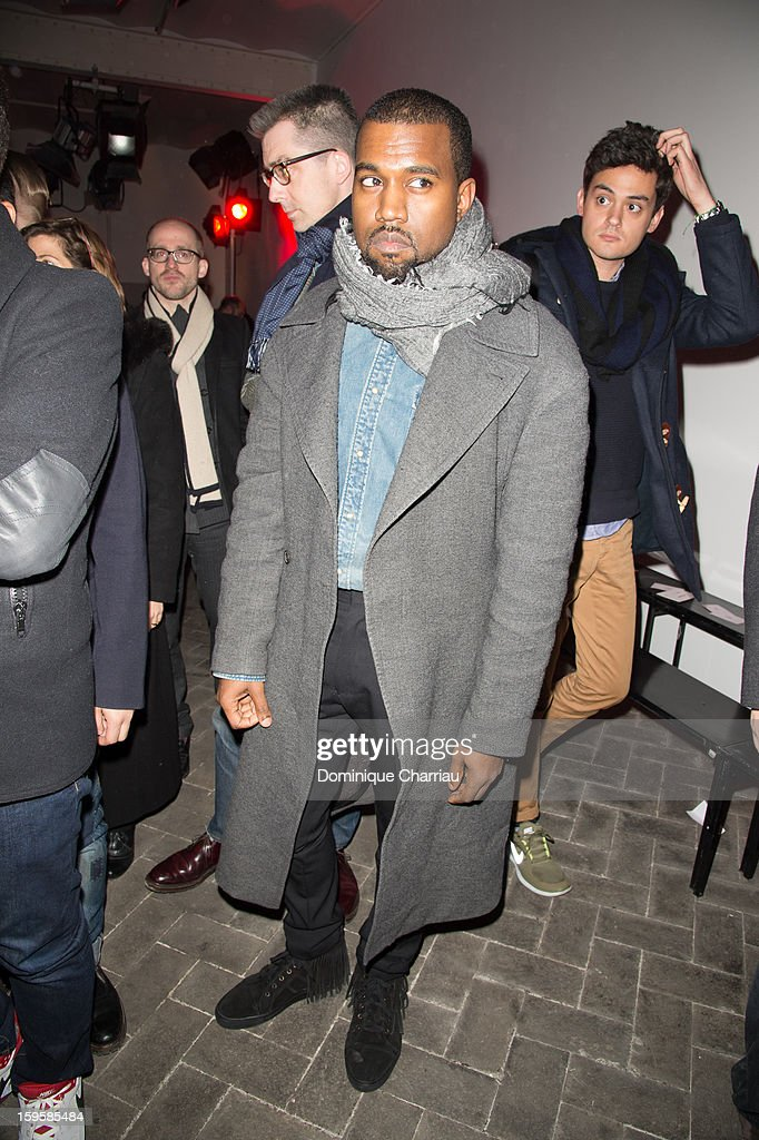 Kanye West attends the Raf Simons Men Autumn / Winter 2013 show as part of Paris Fashion Week on January 16, 2013 in Paris, France.