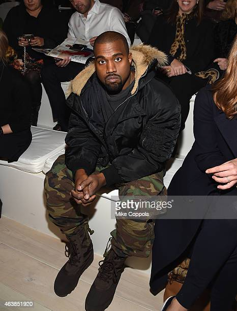 Kanye West attends the Ralph Lauren fashion show during MercedesBenz Fashion Week Fall 2015 at Skylight Clarkson SQ on February 19 2015 in New York...