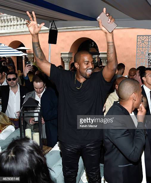 Kanye West attends the Roc Nation and Three Six Zero PreGRAMMY Brunch at Private Residence on February 7 2015 in Beverly Hills California