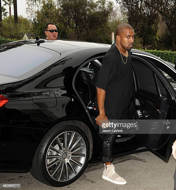 Kanye West attends the Roc Nation Grammy brunch on February 7 2015 in Beverly Hills California