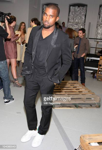Kanye West attends the Rodarte Spring 2011 fashion show during MercedesBenz Fashion Week at DiaChelsea on September 14 2010 in New York City