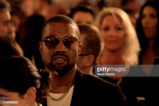 Kanye West attends the runway for Ralph Lauren fashion show during New York Fashion Week at Bethesda Terrace on September 7 2018 in New York City
