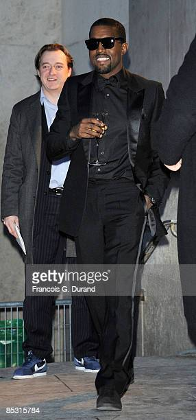 Kanye West attends the Yves Saint Laurent ReadytoWear A/W 2009 fashion show during Paris Fashion Week at Palais de Tokyo on March 9 2009 in Paris...