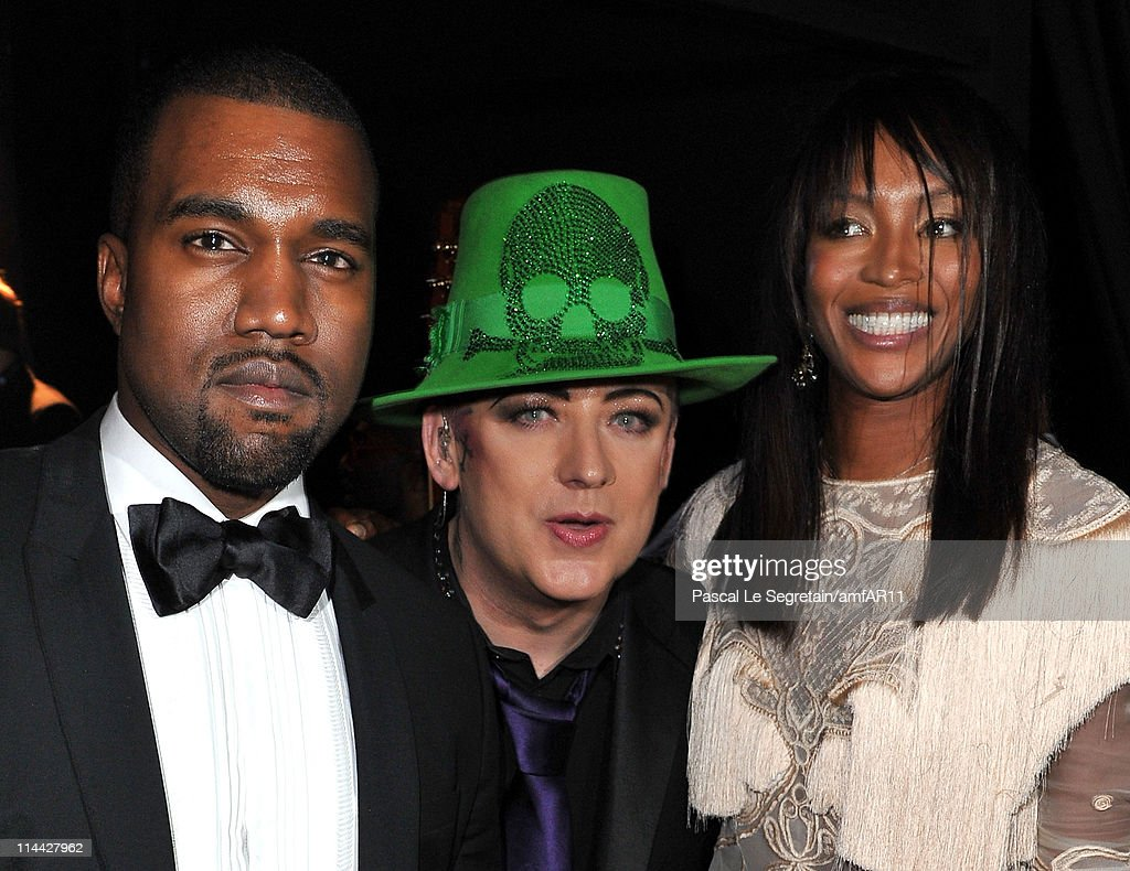 Kanye West, Boy George and Naomi Campbell attend amfAR's Cinema Against AIDS Gala during the 64th Annual Cannes Film Festival at Hotel Du Cap on May 19, 2011 in Antibes, France.