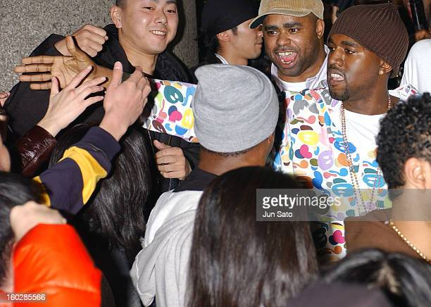 Kanye West during EA Games Hosts Def Jam Fight For NY featured Kanye West Party Lamborghini Arrivals at Alife Club in Tokyo Japan