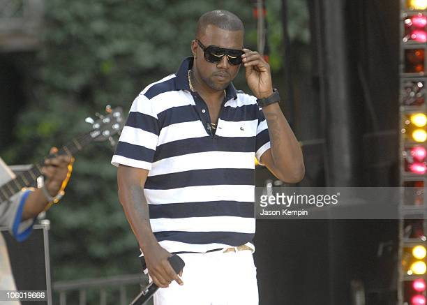 Kanye West during Pharrell and Kanye West Perform on Good Morning America August 4 2006 at Bryant Park in New York City New York United States
