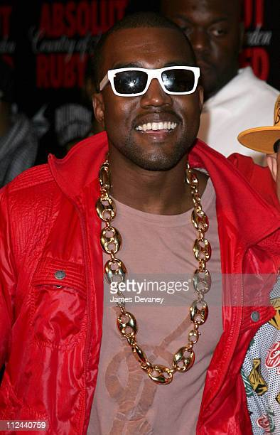 Kanye West during Pharrell Williams and Absolut Ruby Red Host Pre VMA Party Outside Arrivals at Chinatown Brasserie in New York City New York United...