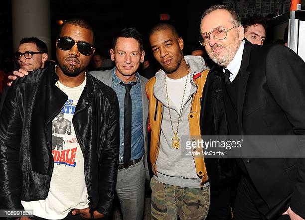 Kanye West GQ editorinchief Jim Nelson Kid Cudi and GQ creative director Jim Moore attend the Best New Menswear Designers in America Fall 2011...