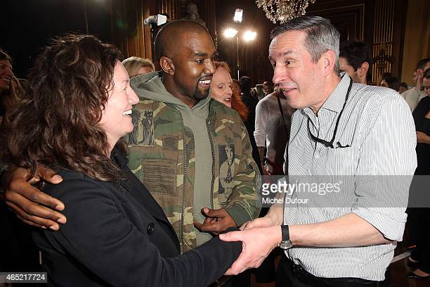 Kanye West guest and Dries van Noten attends the Dries Van Noten show as part of the Paris Fashion Week Womenswear Fall/Winter 2015/2016 on March 4...