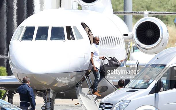 Kanye West is seen arriving at Florence airport before his reported wedding to Kim Kardashian on May 24 2014 in Florence Italy