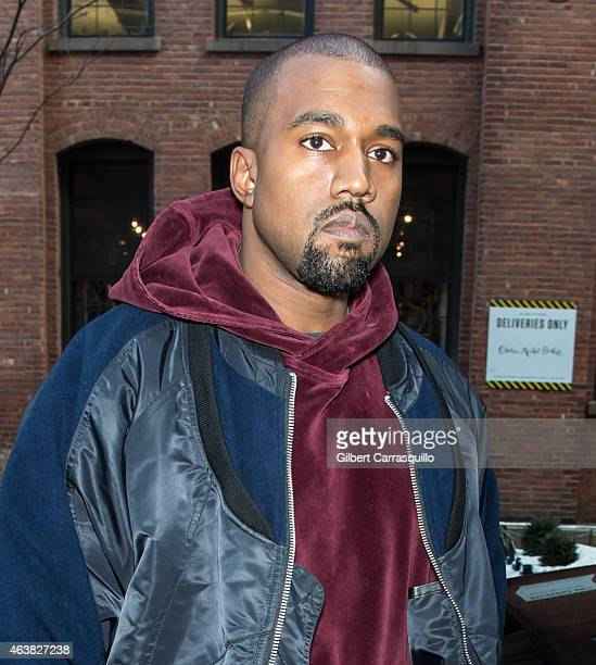 Kanye West is seen arriving at Jeremy Scott fashion show during MercedesBenz Fashion Week Fall 2015 at Milk Studios on February 18 2015 in New York...