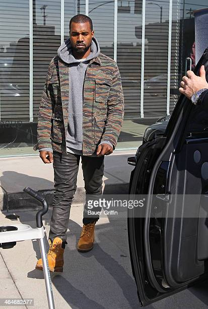 Kanye West is seen at Baulthaup in West Hollywood on January 23 2014 in Los Angeles California