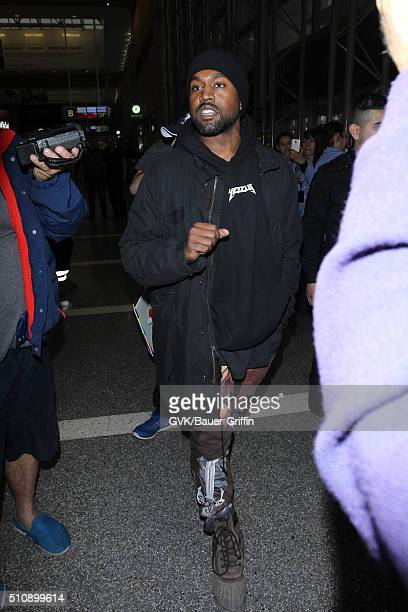 Kanye West is seen at LAX on February 17 2016 in Los Angeles California