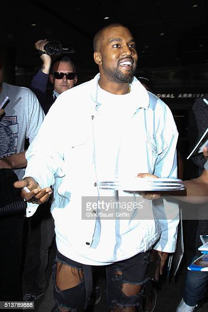Kanye West is seen at LAX on March 04 2016 in Los Angeles California