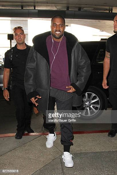 Kanye West is seen at LAX on November 11 2016 in Los Angeles California