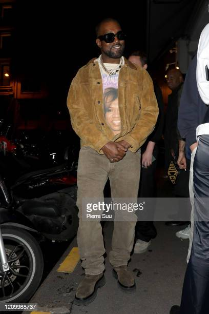 Kanye West is seen leaving a restaurant after his show on March 02 2020 in Paris France