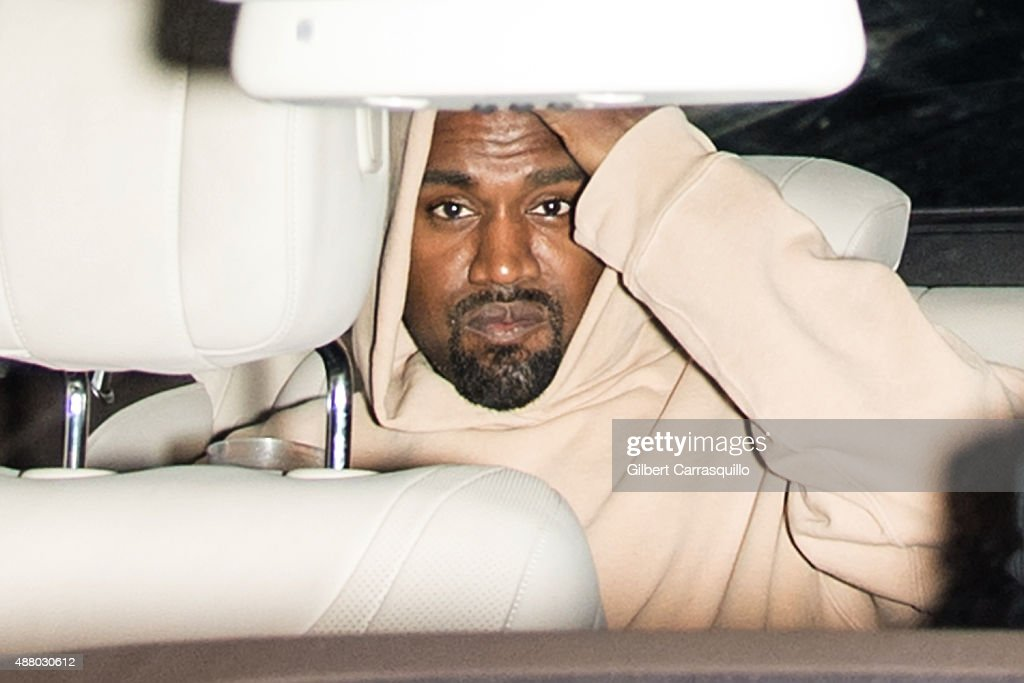Kanye West is seen leaving Alexander Wang Spring 2016 fashion show after-party during New York Fashion Week at Pier 94 on September 12, 2015 in New York City.