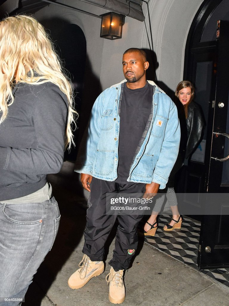 Kanye West is seen on January 12, 2018 in Los Angeles, California.