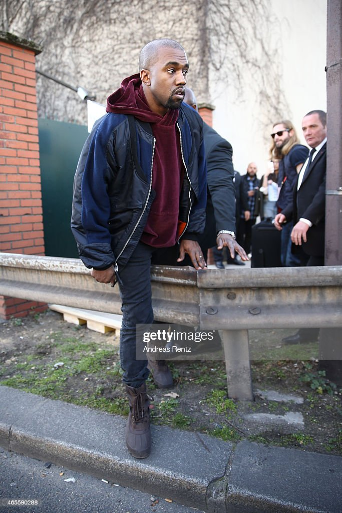 Kanye West is seen prior the Chloe show as part of the Paris Fashion Week Womenswear Fall/Winter 2015/2016 on March 8, 2015 in Paris, France.