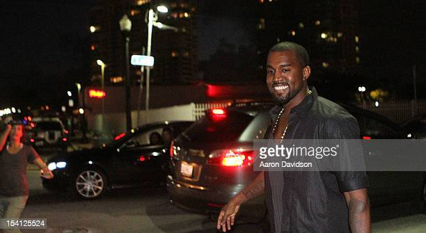 Kanye West is sighted leaving at Prime 112 Steakhouse on October 14 2012 in Miami Beach Florida