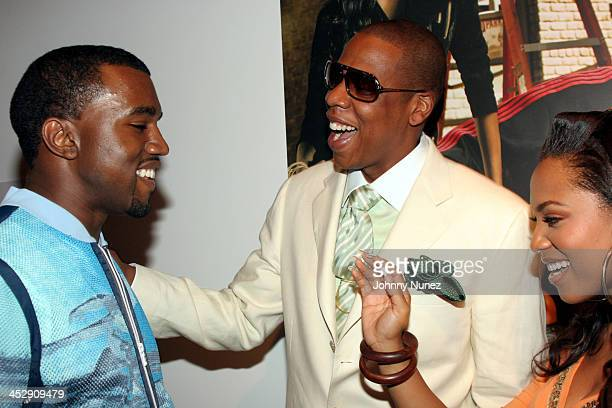 Kanye West JayZ and Terria Marie during Vibe Magazine Presents RocAWear 2005 Hosted By Jay Z at The Lowe Gallery in Los Angeles California United...